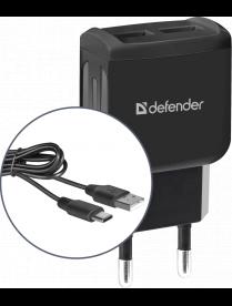 DEFENDER UPC-23 2xUSB,5V/2.1А кабель Type-C 83583