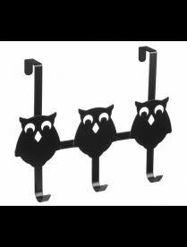 (105245) КТ-ВНД-16В Вешалка навесная на дверь 3 крючка [СОВЫ] черная 25*32*6,2см