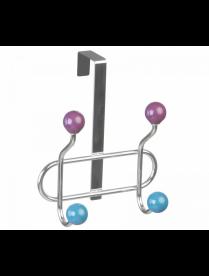 (105246) КТ-ВНД-07 Вешалка навесная на дверь 4 крючка [КОНФЕТТИ] 2 цвета 18,5*27*9,5см