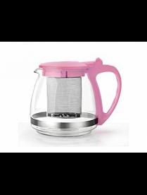 Заварочный чайник 750 мл., (розовый) пласт., корп., стекло, метал. фильтр 80753