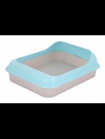 """Лоток-туалет д/животных """"Мур-мяу"""" с рамкой голубой (17) М7847"""