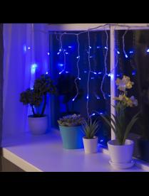 """3556847 Гирлянда """"Бахрома"""" 3 х 0.5 м , LED-80-220V, 8 режимов, прозрачная нить,свечение синее."""