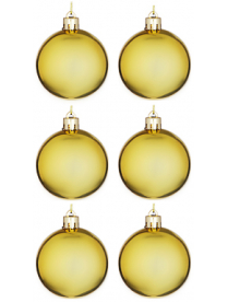 327-330 СНОУ БУМ Набор шаров 6шт, 6см, пластик, в пакете, золото, глянец