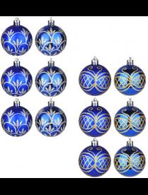 373-242 СНОУ БУМ Набор шаров 6шт, 6см, пластик, в коробке ПВХ, синий, 3 дизайна