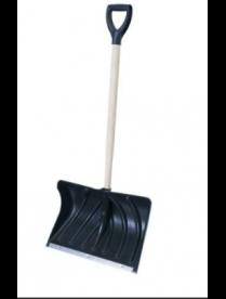 (105082) Лопата снеговая 500х335мм пластмассовая с деревянным черенком и V-обр ручкой (З №2)