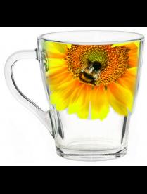 (100709) Кружка для чая 250мл. арт.1649-Д (Живая природа. Подсолнух)