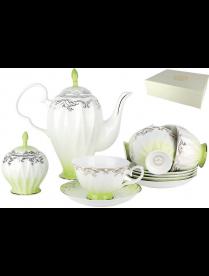 Набор чайный 6/14 Симфония салатовая 250мл п/уп QS014-3(14PCS)