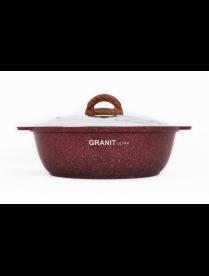 "Жаровня 3л со стекл. крышкой, АП линия ""Granit ultra"" (red) жга31а"