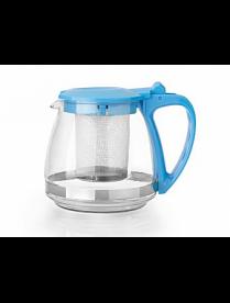 Заварочный чайник 1000 мл. (бирюзовый) пласт.кор., стекло, метал. фильтр 80102