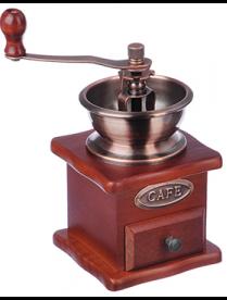 827-001 Кофемолка с деревянным основанием, металл,