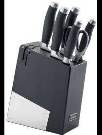 Набор из 5 кухонных ножей, ножниц и блока для ножей с ножеточкой, NADOBA, RUT 722716