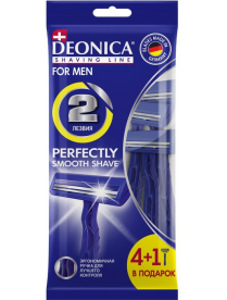 (103293) Бритва безопасная одноразовая DEONICA FOR MEN 2 лезвия, 4+1шт в подарок! (1*10) США