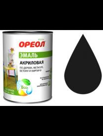 """(092108) Эмаль акриловая """"ОРЕОЛ"""" глянцевая черная 1.9 кг, 1900 г"""