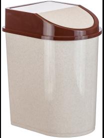 (004874) Контейнер для мусора 8л бежевый мраморный М2481 (12)