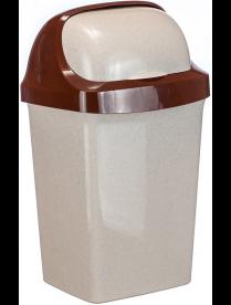(030966) Контейнер для мусора Ролл Топ 15л Беж.мрамор М2466 (6)