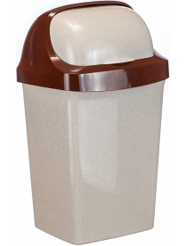 (030969) Контейнер для мусора Ролл Топ 9л Беж.мрамор М2465 (14)