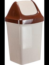 (024956) Контейнер для мусора Свинг 25л Беж.мрамор М2463