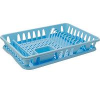 (004821) Сушилка для посуды большая голубая М1169
