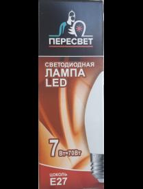 (095735) Лампа светодиодная Пересвет LED С37 свеча 7W E27 3000K 01.1051