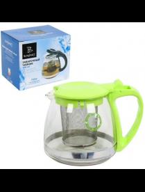 Заварочный чайник 1000 мл. (зеленый) пласт. кор., стекло, метал. фильтр 80103