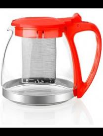 Заварочный чайник 1000 мл. (красный) пласт. корп., стекло, метал. фильтр 80104