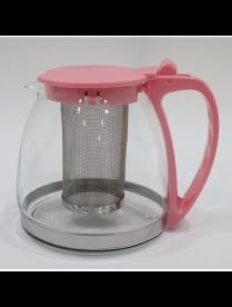 Заварочный чайник 1000 мл.(розовый) пласт. корп., стекло, метал. фильтр 80105