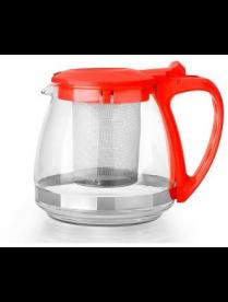 Заварочный чайник 750 мл., (красный) пласт., корп., стекло, метал. фильтр 80755