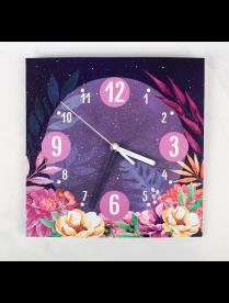 "(095837) Часы настенные с декором ""Цветы"", 26 х 26 см 3868623 3868623"