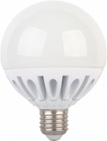 (096613) Лампа св/д Ecola шар G95 E27 20W 2700K 130x95 ребрист.алюм.Premium K7LW20ELC