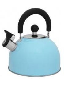 910085 Чайник из нерж. стали MAL-039-А, 2,5л голубой со свистком (41326)