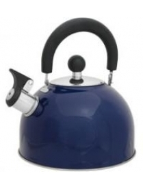 910083 Чайник из нерж. стали MAL-039-В, 2,5л синий со свистком (41327)