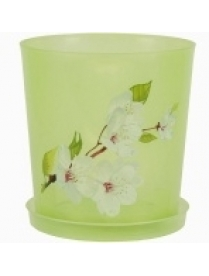 (39935) М1452 Горшок цв для орхидеи 1,2л с поддоном (зел.прозрачный) (40)