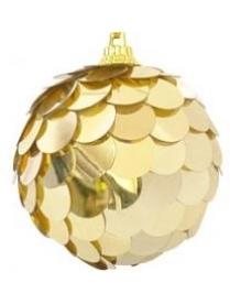 (42866) Шары с рисунком (чешуя) PBD6-3-670-G 6см 3шт в ПВХ-упаковке цвет-золото (96)