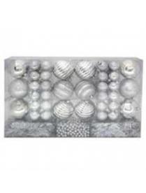 (36677) Набор NYS-4304-S цвет серебро (63предм.шары 8см-12, 4см-48, бусы-1, мишура-2) в ПВХ-упаковке