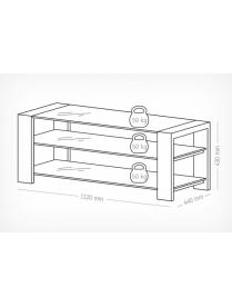 стол TV-27120-v черный матовый+белое стекло
