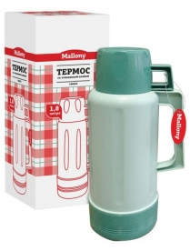 073020 Термос Mallony 1800JH, 1,8л, стеклянная колба, зелёный (45545)