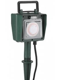 Удлинитель ЭРА UT-2e-10m-IP44 садовый с таймером 24ч/15м, 2гн, 10м, с заземл, 3*1мм2
