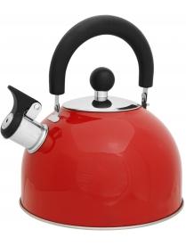910084 Чайник из нерж. стали MAL-039-R, 2.5л, красный со свистком (46398)