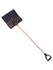 (49403) Лопата снеговая 428х490мм пластмассовая с деревянным черенком и V-обр ручкой (оцинк планка)