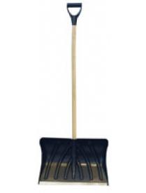 (49404) Лопата снеговая 490х370мм пластмассовая с деревянным черенком и V-обр ручкой (оцинк планка)