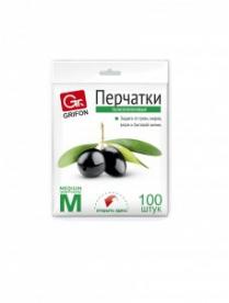 (49885) Перчатки полиэтиленовые Grifon р-р М 100шт в п/э упаковке (100) 303-018