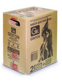 (49255) Набор для барбекю Grifon уголь 2кг,перчатки, спички, береста, пакет 60л, в коробке 600-040