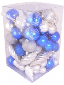Набор NYS-4567-BS цвет синий+серебро 65предметов