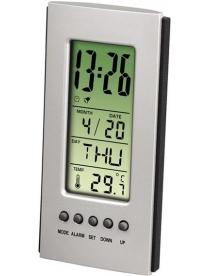 Hama H-75298 настольный термометр/часы/будильник серебристый/черный