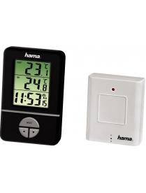 Hama H-106986 EWS-151 термометр внутр./внешний (-20)/часы/будильник/календарь черный