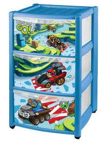 "(56571) С13989 Комод детский ""Angry Birds Go!"" на колёсах с апплик."