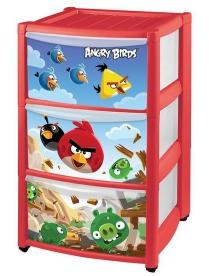 "(56572) С13990 Комод детский ""Angry Birds"" на колёсах с апплик."