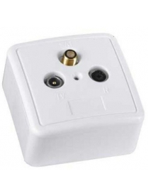 Розетка Hama H-44255 антенная для SAT белая позолоченные контакты