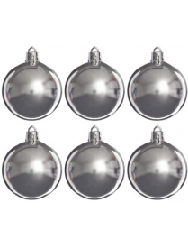 (57856) 375-085 Шары Сноу Бум пластик 60мм 6шт в пакете серебро