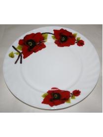 (60572) Тарелка обеденная 23см Красный цветок YQ1438 (24)